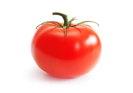red tomato on the white background