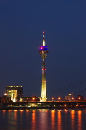Media Port (Medienhafen) and Rheinturm tower Dusseldorf at night