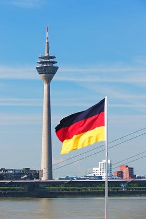 Media Port (Medienhafen) and Rheinturm tower Dusseldorf