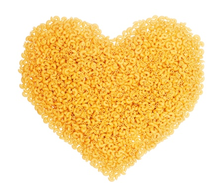 heart shape from pasta on the white background