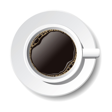 cup and saucer: cup of coffee on the white background Illustration