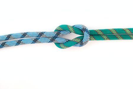two bound colour ropes on white