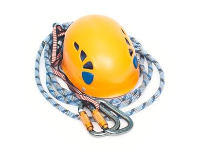 recreational climbing: climbing equipment - carabiners, helmet and rope Stock Photo