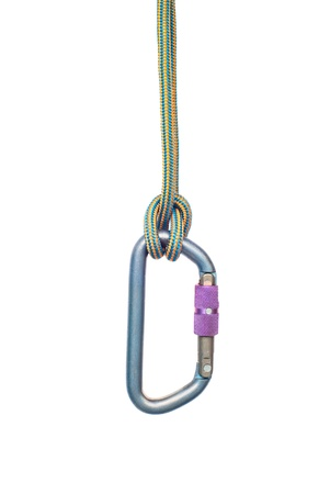 Isolated climbing equipment - carabiner and rope photo