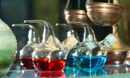 reagents: chemical flasks with reagents in laboratory