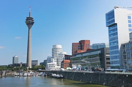 Media Port (Medienhafen) and Rheinturm tower Dusseldorf Stock Photo