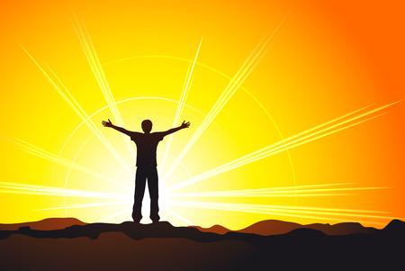 gratitudine: uomo in piedi sulla cima della collina con le mani sollevate