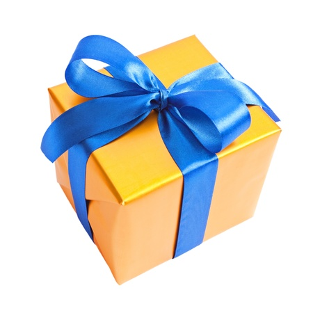wrapped present: Yellow gift with blue ribbon isolated on white Stock Photo