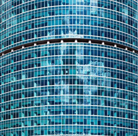 glass wall of the office building