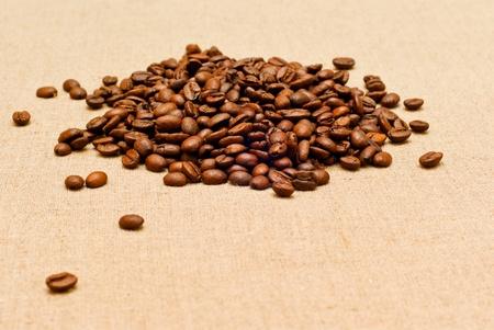 coffee grains on the burlap