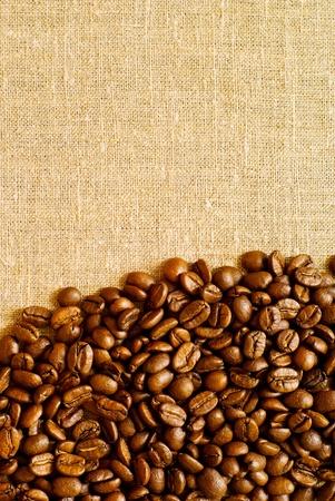 granos de cafe: granos de café en el backgruond de arpillera con espacio de copia