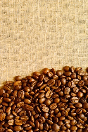 coffee grains on the burlap backgruond with copy space Standard-Bild