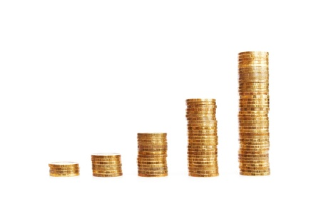 Stacks of coins showing your financial growth Standard-Bild