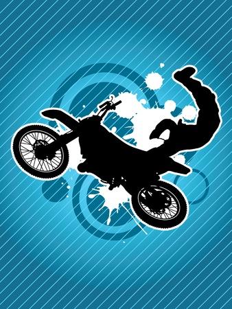 motorcross: Motocicleta y la silueta del motorista sobre el fondo rojo del grunge
