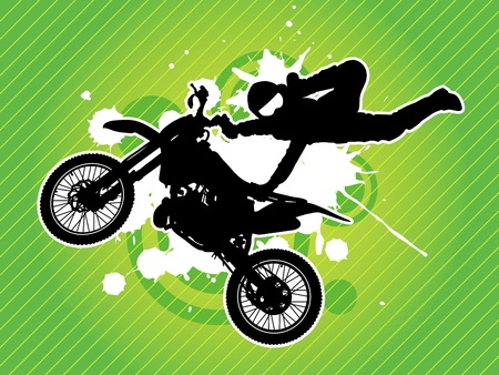 motorcycle rider: Motorcycle and the rider silhouette on the grunge green background Illustration