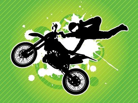 silueta moto: Motos y el jinete silueta sobre el fondo verde del grunge