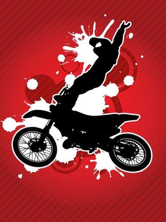 silueta moto: Motos y la silueta del motorista en el fondo rojo del grunge Vectores
