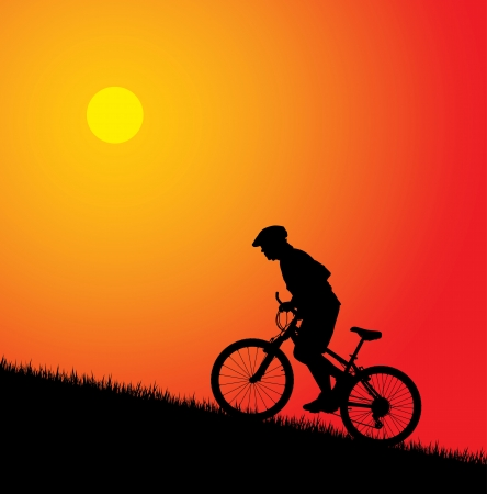 bicyclists: Biker silhouette on the sunset