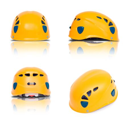three view and axonometry of orange climbing helmet photo