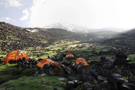 Early morning view of base camp 3200 meters on mount ararat photo