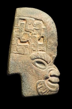 idool: Inca idol profiel geïsoleerd op zwart Stockfoto