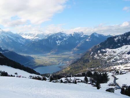 water skiers: Skiing area near Amden (St.Gallen, Switzerland) Stock Photo