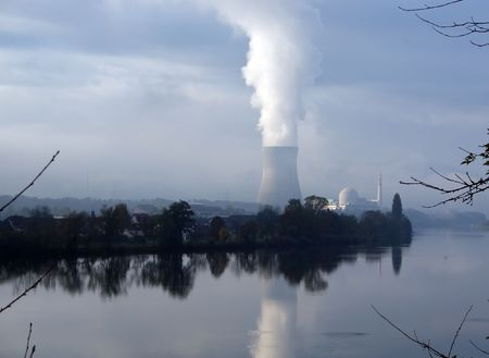 Nuclear power station reflecting in Aare river near Baden, Switzerland Stock Photo - 4949010