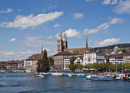 zurich: Grossmuenster church and Limmat river (Zurich, Switzerland) Stock Photo