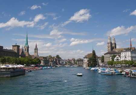 Limmat river and famous Zurich churches photo