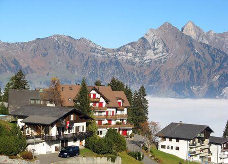 chalet: Small alpine village in Switzerland