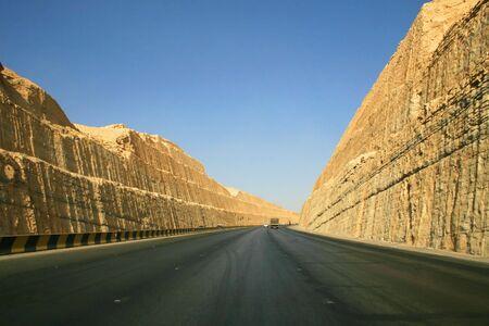 saudi arabia: Road through clay rocks near Riyadh (Saudi Arabia)