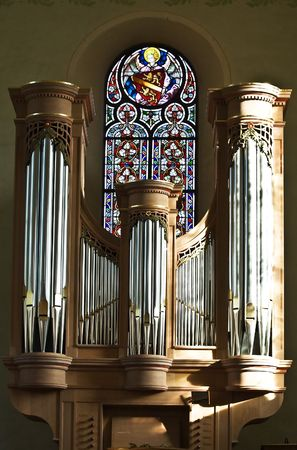 hymn: Organ in a small church