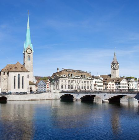 Zurich cityscape (Famous Fraumuenster Cathedral and St.Peter Church) photo
