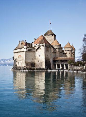 leman: Chillon castle, Geneva lake (Lac Leman), Switzerland Stock Photo