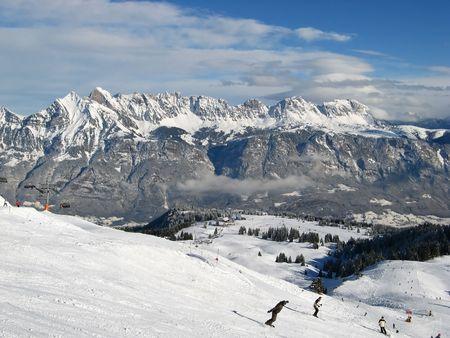 Skiing in Swiss Alps (Flumserberg, St. Gallen) Stock Photo - 5066814