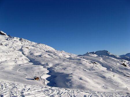 wallis: Skiing area near Tschuggen (Wallis, Switzerland) Stock Photo