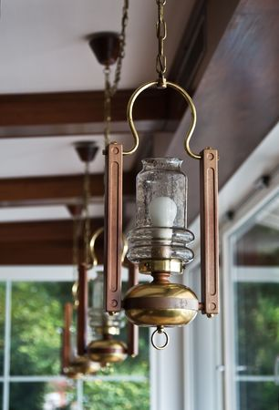 Row of old-fashioned lamps photo