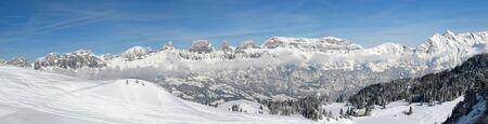 st gallen: Panoramic view of Churfirsten mountain range (St. Gallen, Switzerland) Stock Photo