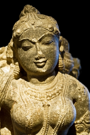 hindu temple: Divine beauty (ancient hindu statue) Stock Photo