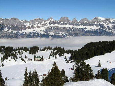 st gallen: Skiing resort above the clouds in Flumserberg (St. Gallen, Switzerland)