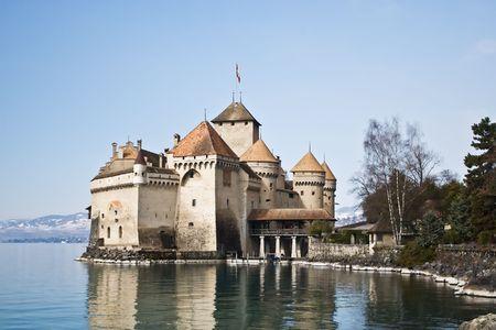 leman: Famous Chillon castle on the Geneva lake (lac Leman)