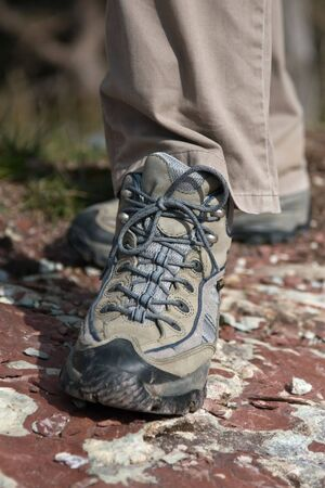 Close-up of tracking shoe on the stone photo