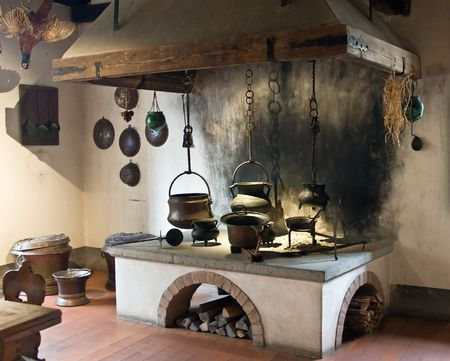 castle interior: Ancient kitchen (Kyburg castle, Switzerland) Stock Photo