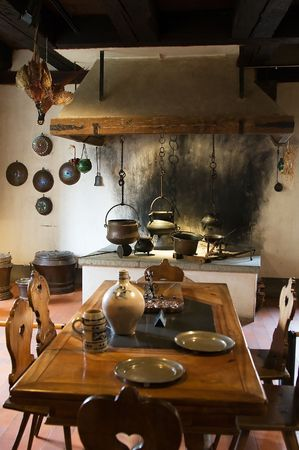 castle interior: Old kitchen of Kyburg castle, Switzerland Stock Photo