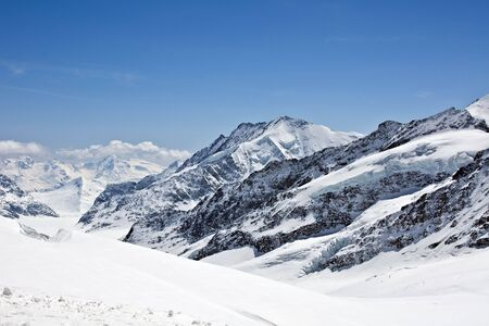 aletsch: Aletsch glacier view from the Jungfrau Stock Photo
