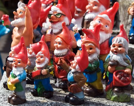 Crowd of colorful dwarf figures photo
