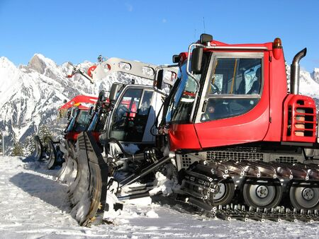 bulldoze: Machines for skiing slope preparations Stock Photo