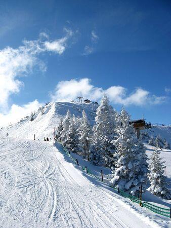st gallen: Skiing in Flumserberg (St. Gallen, Switzerland) Stock Photo