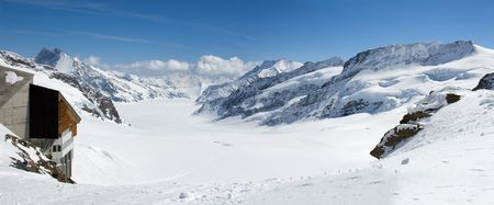 aletsch: Panoramic view of Aletsch glacier from the Jungfraujoch Stock Photo