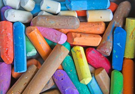 Set of the colored chalk on the table Stock Photo - 5342325